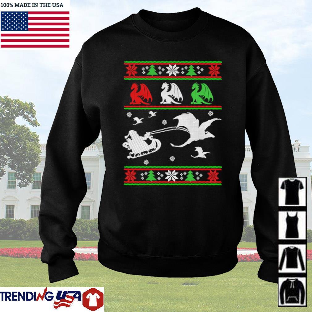 Santa Claus riding sleigh dragon ugly Christmas sweater