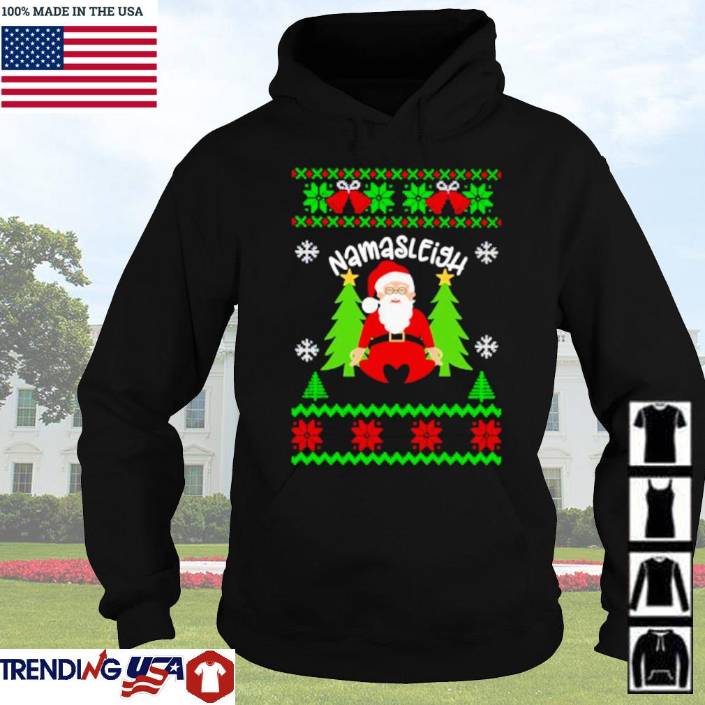 Santa Claus yoga Namasleigh ugly Christmas sweater Hoodie