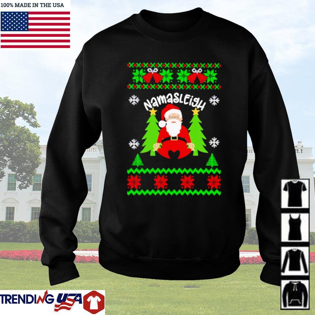 Santa Claus yoga Namasleigh ugly Christmas sweater