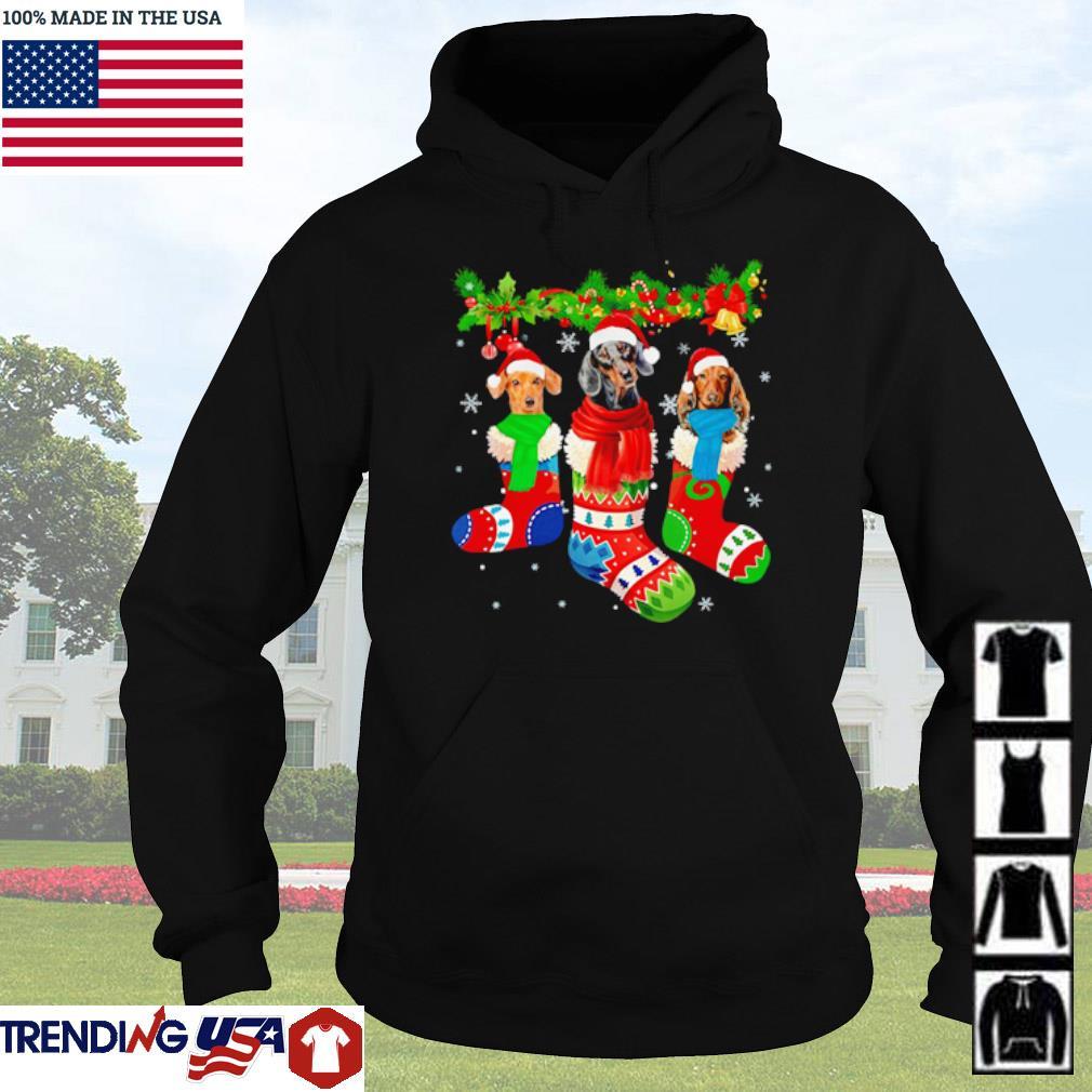 Santa Dachshund socks Christmas sweater Hoodie