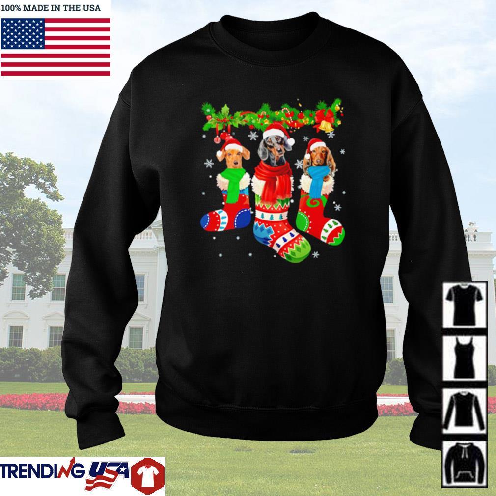Santa Dachshund socks Christmas sweater
