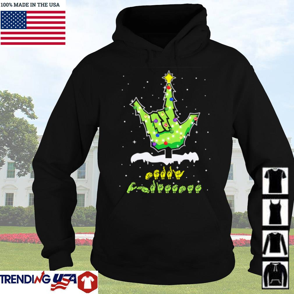 Sign languages Christmas tree sweater Hoodie